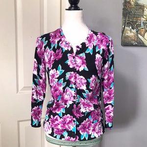 Women's Long Sleeve Floral Cardigan